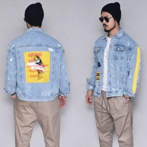 Taping Vintage Print Denim-Jacket 400
