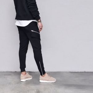 Slant Zipper Sweat Jogger-Pants 550