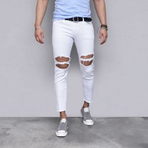 Body-skimming Stretchy Damage Ankle-Jeans 539