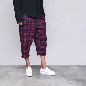 Cropped Wide Checker Banding-Pants 557