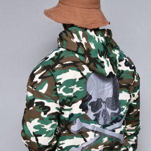 Glittering Skull Camouflage Hood-Hoodie 341