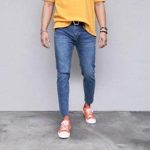 Knee Cutting Vintage Slim Ankle-Jeans 545