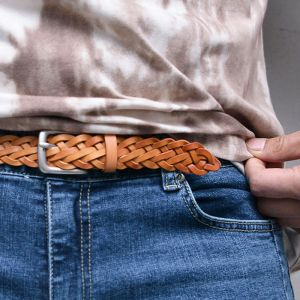 Slim Vintage Leather Braided-Belt 208