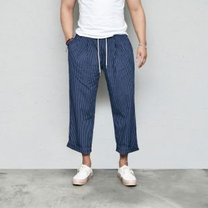 Stripe Fleated Wide Banding-Pants 572