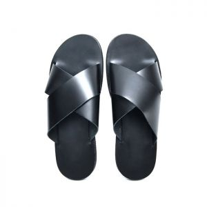 X Strap Sleek Cowhide Sandals-Shoes 814