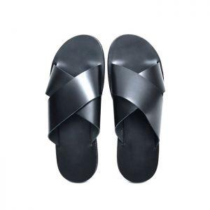 X Strap Sleek Cowhide Sandals-Shoes 814