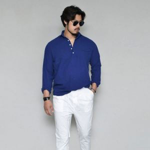 Laid-back Washed Henleyneck-Shirt 295