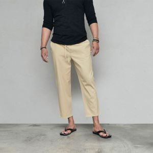 Cool Semi-wide Crop Banding-Pants 591