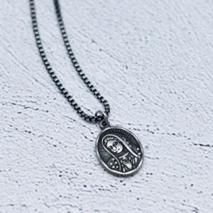 Face Steel Dark Chain-Necklace 405