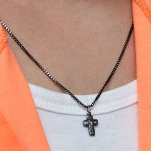 Black Steel Mini Cross-Necklace 407