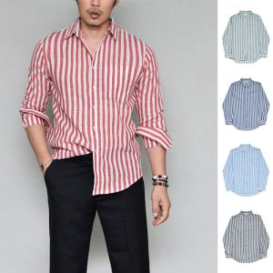 Slim Cut Stripe Linen-Shirt 324