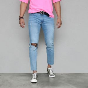 Worn-out Knee Stretchy Slim Ankle-Jeans 568