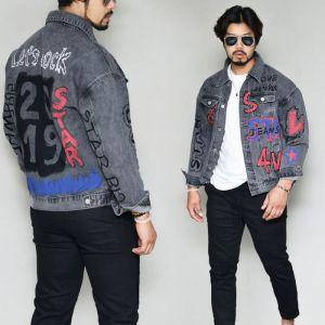 Funky Print Washed Black Denim-Jacket 409