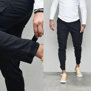 Velcro Jogger Black Cargo Banding-Pants 609