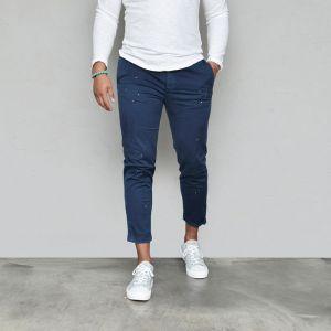 Painting Slim Crop Turn-up Slacks-Pants 611