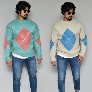 Thick Cozy Argyle Sweater-Knit 252