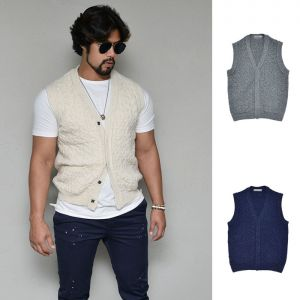 Wool Silk Cable Sweater-Vest 162