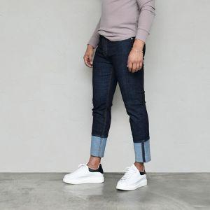 Roll Up Stretchy Indigo Denim-Jeans 587