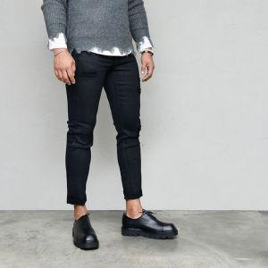 Black Coating Damage Slim Stretchy-Jeans 592