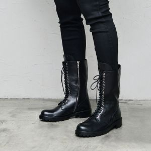 Mid Long Zipper Biker Boots-Shoes 838