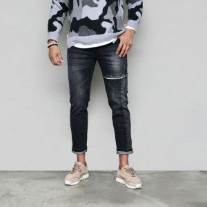 Knife Damage Cut Wash Black Slim-Jeans 595