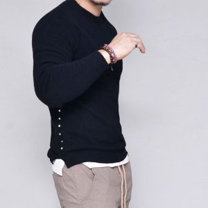 Cashmere Wool Snug Fit Stud Sweater-Knit 266