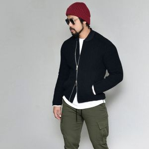 Slim Fit Thick Wool Sweater Rider-Jacket 419