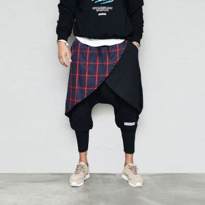 Check Wrap Layered Crop Baggy-Pants 643