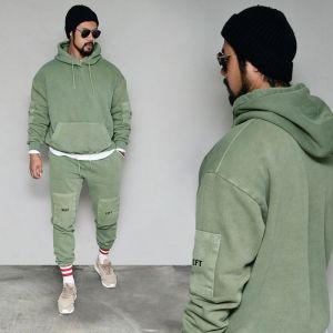 Patch Pigment Wash Fleece Hood Set-Gymwear 60