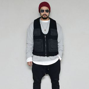 Techwear Multi Pocket Shearling Vest-Vest 168